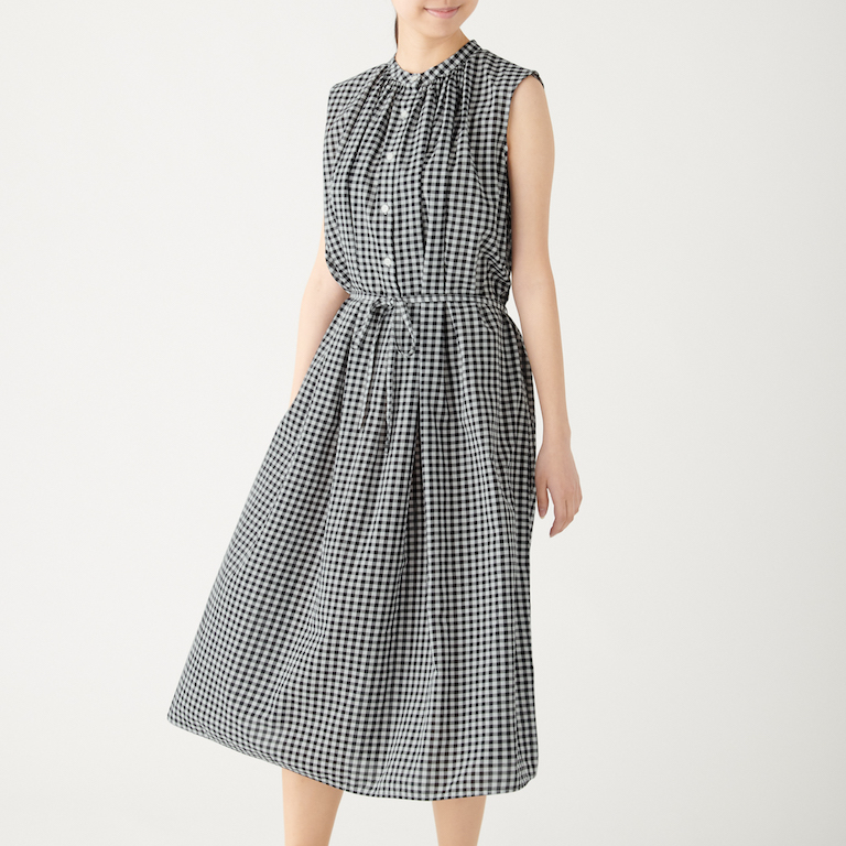 Organic Cotton High Twisted Gingham Check Sleeveless Dress. Less 10% U.P. $69