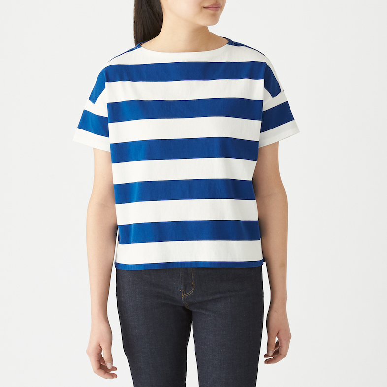 Ladies' Organic Cotton Low Count Boat Neck Wide Short Sleeve T-shirt. Less 10% U.P. $24.90
