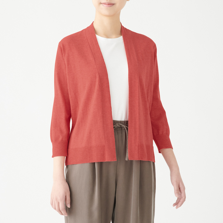 Organic Cotton High Twisted UV Protection Short Cardigan. Less 10% U.P. $49