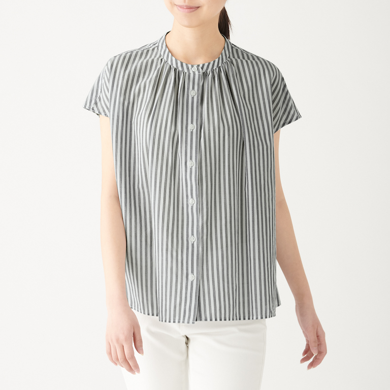 Organic Cotton High Twisted Stripe French Sleeve Blouse. Less 10% U.P. $39