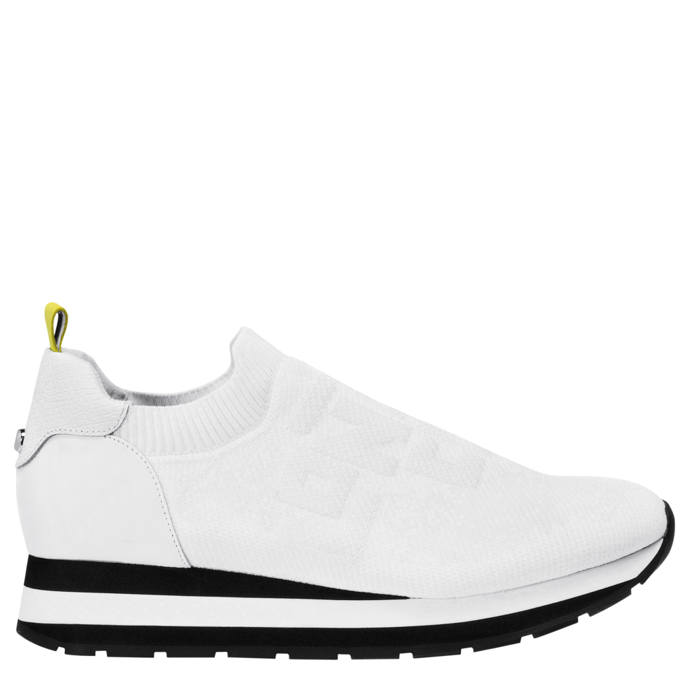 Le Pliage Cuir LGP Sneakers in White ($430)