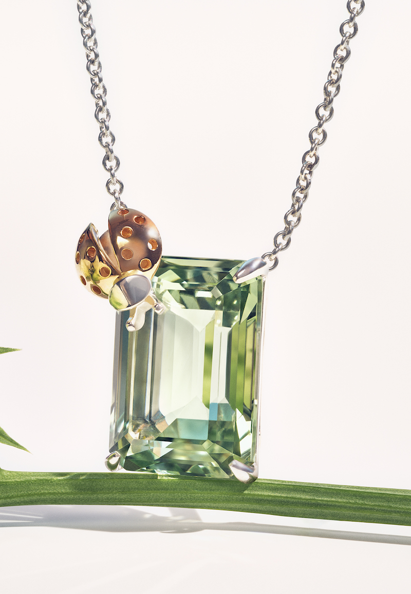 Return to Tiffany Love Bugs Ladybug Pendant in Sterling Silver and Rose Gold with a Green Quartz