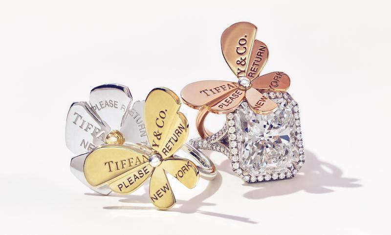 Left: Return to Tiffany Love Bugs Butterfly Flower Ring ($2,400)