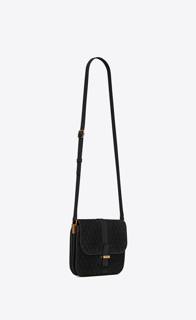 MONOGRAM ALL OVER Small Satchel in Suede — Black, $2,990