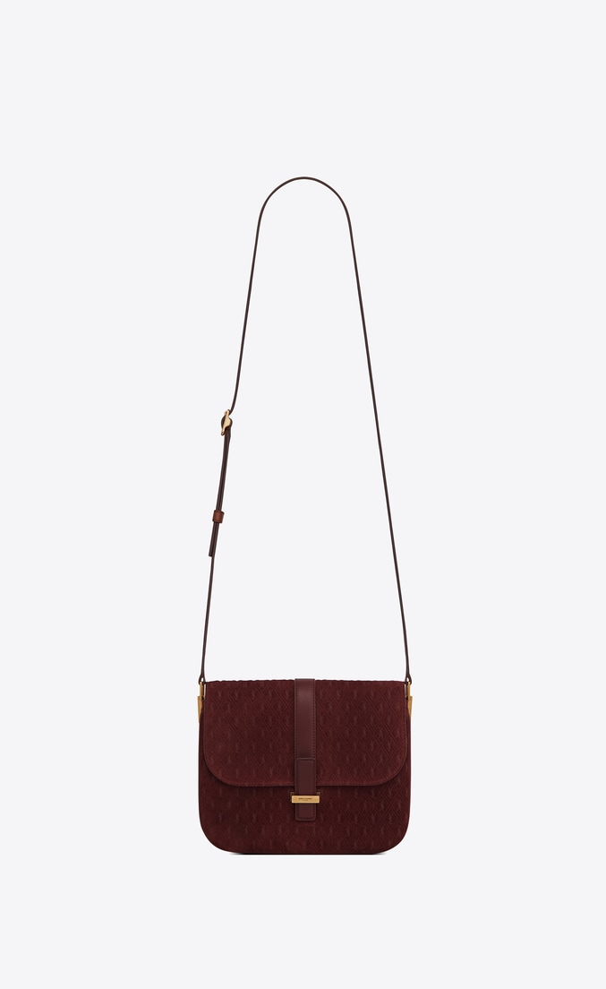 MONOGRAM ALL OVER Small Satchel in Suede — Burgundy, $2,990