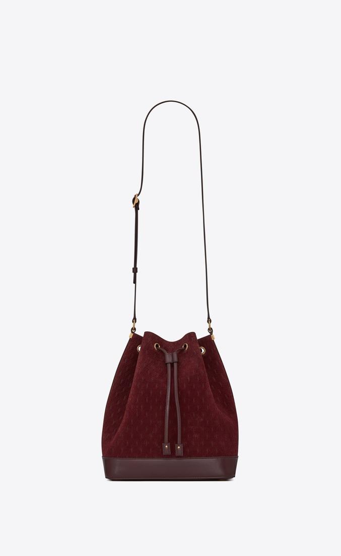 MONOGRAM ALL OVER Bucket Bag in Suede — Burgundy, $3,520
