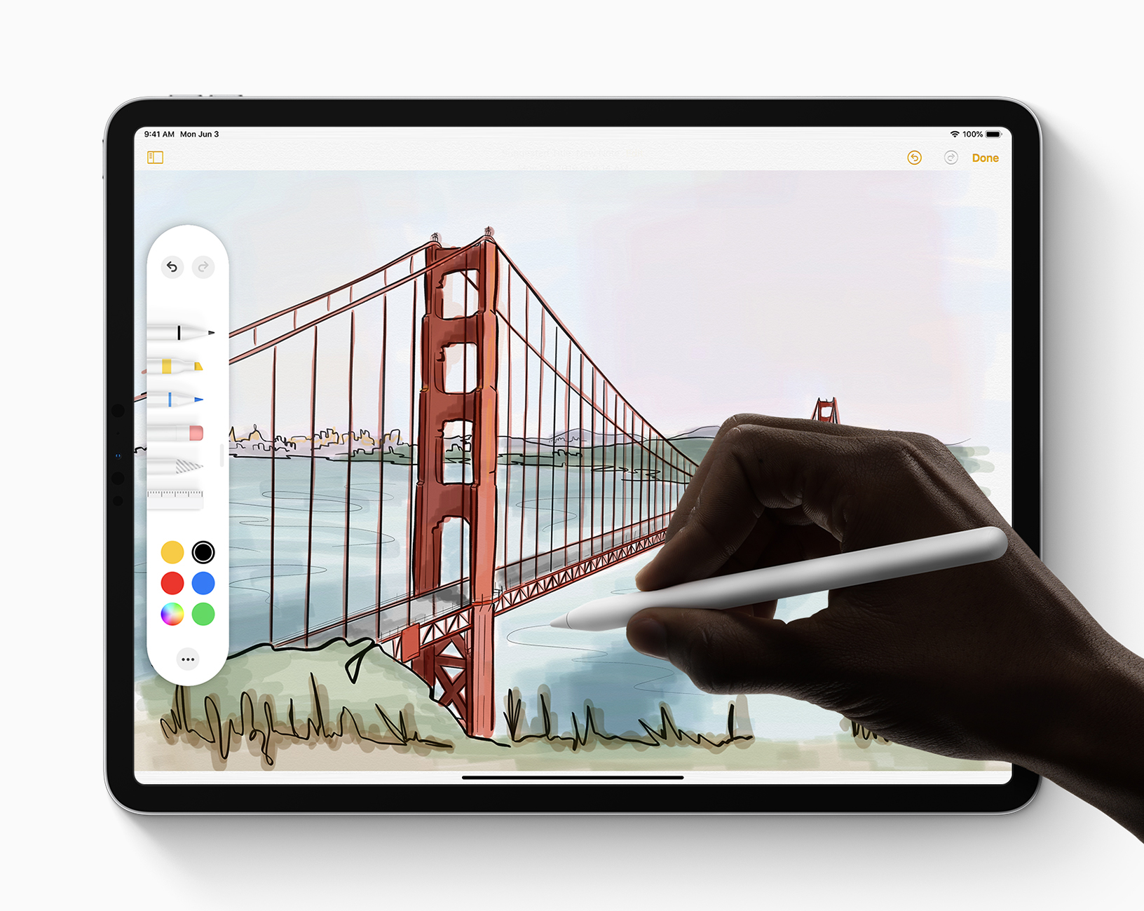 A redesigned tool palette adds tools, colors and shapes, enhancing creative possibilities with Apple Pencil.