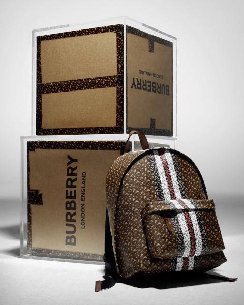 Monogram Stripe Print E-canvas Backpack, $1,790