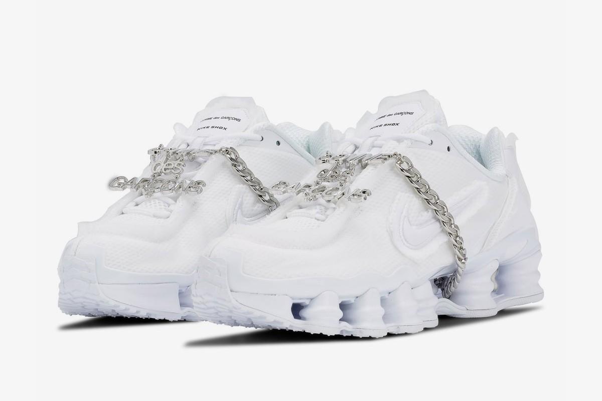 Comme des Garçons x Nike Shox TL in Triple White